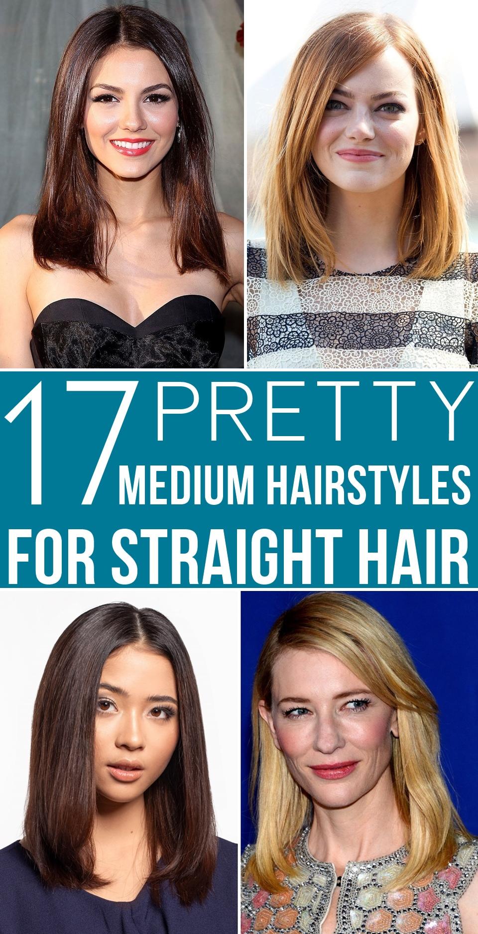 17 Pretty Medium Hairstyles For Straight Hair